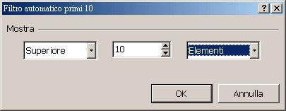 Figura 36 - Finestra di dialogo per la definizione di parametri relativa al Filtro automatico primi 10